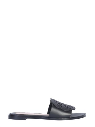 Alexander McQueen Black Signature Leather Flat Slide Sandals