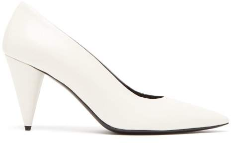 The Row Point Toe Leather Pumps - Womens - White