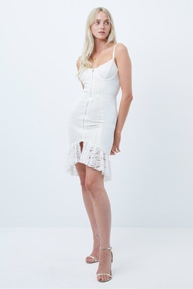 French Connection Iva Whisper Lace Mix Fitted Dress