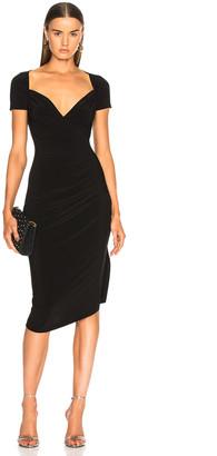 Norma Kamali Sweetheart Side Drape Dress in Black | FWRD