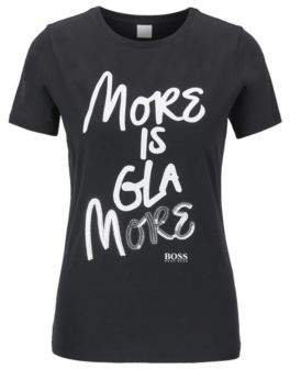 BOSS Cotton-jersey T-shirt with printed and sequined slogan