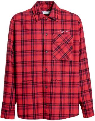 Off-White Off White flannel check shirt red