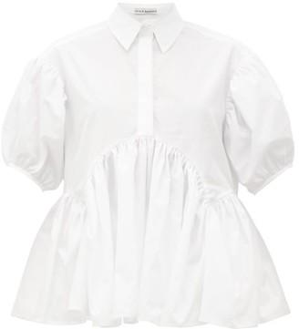 Cecilie Bahnsen Ellie Puff-sleeve Cotton-poplin Blouse - Womens - White