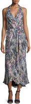 Haute Hippie Halter-Neck Faux-Wrap Dress, Swan/Multi