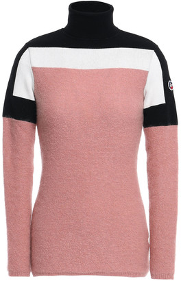 Fusalp Paneled Appliqued Color-block Knitted Turtleneck Sweater
