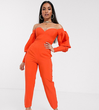 Asos DESIGN Petite off shoulder structured sleeve jumpsuit with sweetheart neck