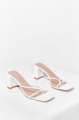 Nasty Gal Womens Mule Be Back Strappy Block Heeled Mules - White