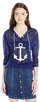 Almost Famous Women's Lace up Hoodie with Anchor Top