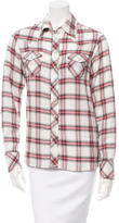 Maje Plaid Button-Up Top
