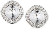 Givenchy Rhodium-Tone Pavé Cushion Button Stud Earrings