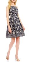 London Times Lace Fit-and-Flare Dress