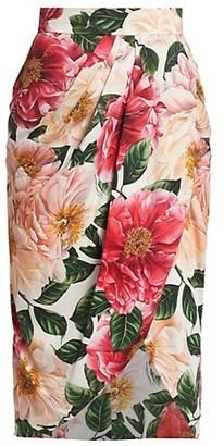 Dolce & Gabbana Floral Silk Jersey Wrap Skirt