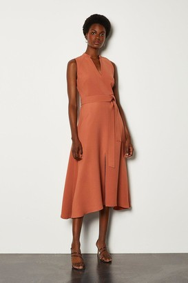 Karen Millen Notch Neck Soft Tie Midi Dress