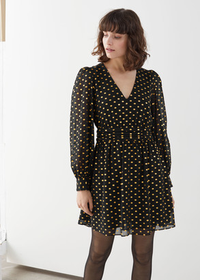 And other stories Metallic Dotted Gathered Mini Dress