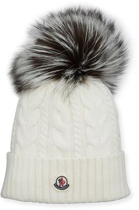 Moncler Cable-Knit Fox Pompom Beanie