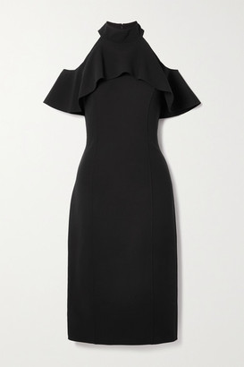 Michael Kors Collection Cold-shoulder Ruffled Stretch-wool Midi Dress - Black
