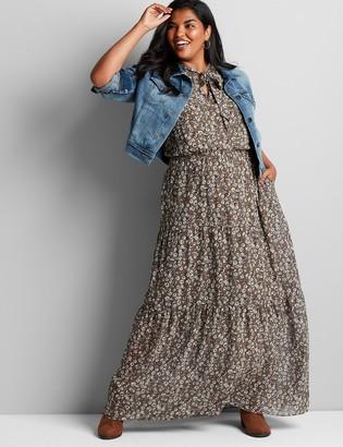 Lane Bryant Tie-Neck Floral Maxi Dress