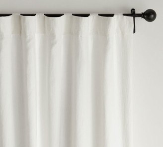 Pottery Barn Classic Belgian Flax Linen Rod Pocket Blackout Curtain - Classic Ivory