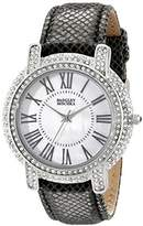 Badgley Mischka Women's BA/1355WMBK Swarovski Crystal Accented Silver-Tone and Black Leather Strap Watch