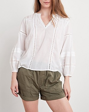 Velvet by Graham & Spencer Pia Cotton Embroidered Blouse