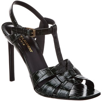 Saint Laurent Tribute 105 Croc-Embossed Leather Sandal