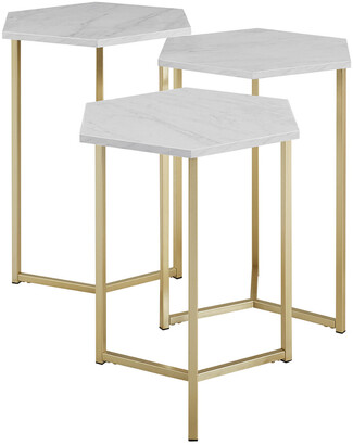 Hewson Set Of 3 Glam Nesting Side End Tables