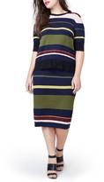 Rachel Roy Plus Size Women's Variegated Stripe Midi Skirt