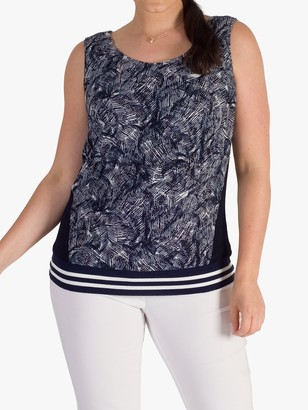 chesca Contrast Lace Camisole Top, Navy/Ivory