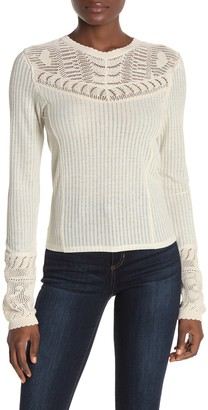 Free People Colette Scallop Neck Trim Knit Sweater