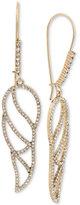Betsey Johnson Gold-Tone Crystal Pavé Openwork Wing Drop Earrings