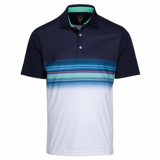 Greg Norman Mens Performance Surf Golf Polo (Navy/White/Green Small)