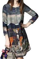 PINGORA Women's Fashion Floral Printing Silk Dress With Sleeves