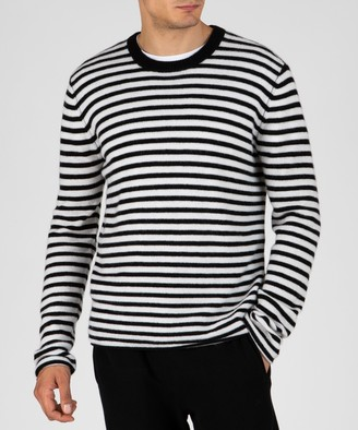 Atm Cashmere Crew Neck Sweater - Black/ Chalk Stripe