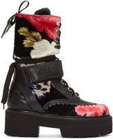 MSGM Multicolor Floral Print Platform Boots