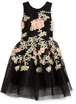 Zoe Mila Sleeveless Pleated Floral Mesh Dress, Black, Size 4-6