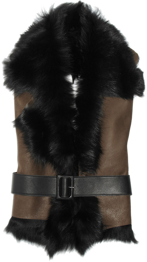 Karl Donoghue Belted leather and shearling backless waistcoat