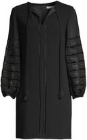 Trina Turk Bordeaux Bishop-Sleeve Shift Dress