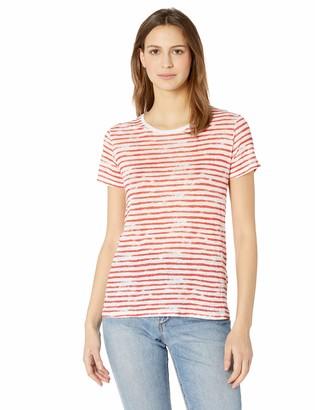 Majestic Filatures Women's Linen Stripe Short Sleeve Crew Neck Tee