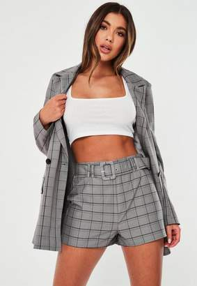 Missguided Grey Co Ord Check Belted Shorts
