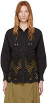 See by Chloe Black Broderie Anglaise Shirt