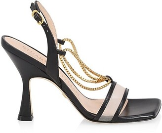 Stuart Weitzman Roxanna Chain-Detail Mesh & Leather High-Heel Sandals