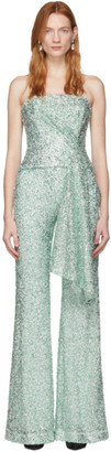 Halpern SSENSE Exclusive Green and Silver Sequin Draped Bustier
