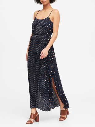 Banana Republic Petite Polka Dot Pleated Maxi Dress