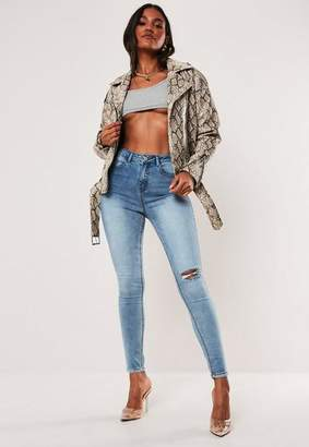 Missguided High Waisted Busted Knee Denim Jeans