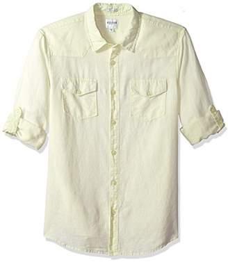 GUESS Men's Long Sleeve Walker Linen Western Shirt with Roll Tab
