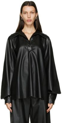 Nanushka Black Vegan Leather Keiron Blouse