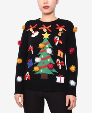 Planet Gold Juniors' Embellished Christmas Sweater