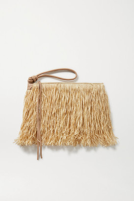 Nannacay + Net Sustain Ana Isabel Leather-trimmed Straw Clutch - Sand