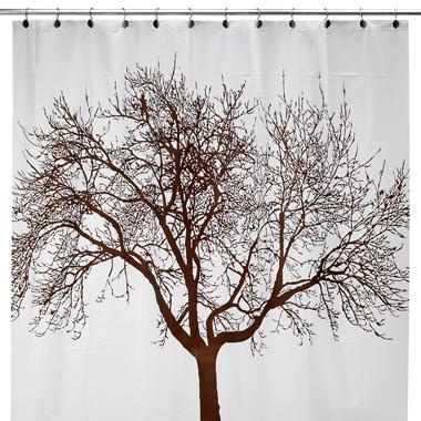 "Bed Bath & Beyond Mocha Tree 70"" W x 72"" L Vinyl Shower Curtain"