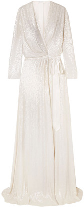 Jenny Packham Sophia Satin-trimmed Sequined Silk-chiffon Wrap Gown